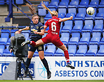 Kirsty Hanson of Manchester United Women and Sophie Bradley-Auckland of Liverpool Ladies