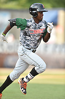 Augusta GreenJackets shortstop Lucius Fox (1) runs to first during a game against the Asheville Tourists at McCormick Field on July 21, 2016 in Asheville, North Carolina. The GreenJackets defeated the Tourists 6-3. (Tony Farlow/Four Seam Images)
