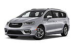 Stock pictures of low aggressive front three quarter view of 2021 Chrysler Pacifica-Hybrid LIMITED 5 Door Minivan Low Aggressive