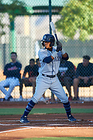 AZL Padres 1 Luis Paez (1) at bat during an Arizona League game against the AZL Indians Red on June 23, 2019 at the Cleveland Indians Training Complex in Goodyear, Arizona. AZL Indians Red defeated the AZL Padres 1 3-2. (Zachary Lucy/Four Seam Images)