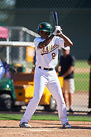 Oakland Athletics Eric Marinez (8) during an Instructional League game against the San Francisco Giants on October 5, 2016 at Fitch Park in Mesa, Arizona.  (Mike Janes/Four Seam Images)