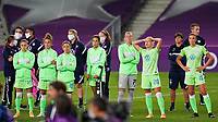 30th August 2020, San Sebastien, Spain;  Players of Vfl Wolfsburg dejected after their loss in the UEFA Womens Champions League football match Final between VfL Wolfsburg and Olympique Lyonnais.