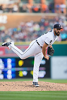 Detroit Tigers starting pitcher Michael Fulmer (32) follows through on his delivery against the Chicago White Sox at Comerica Park on June 2, 2017 in Detroit, Michigan.  The Tigers defeated the White Sox 15-5.  (Brian Westerholt/Four Seam Images)