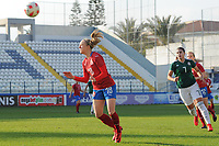 20190306 - LARNACA , CYPRUS : Czech midfielder Jitka Chlastakova (18) , Mexican midfielder Nayeli Rangel (7) pictured during a women's soccer game between Czech Republic and Mexico , on Wednesday 6 March 2019  at the Antonis Papadopoulos Stadium in Larnaca , Cyprus . . This last game for both teams which decides for places 5 and 6 of the Cyprus Womens Cup 2019 , a prestigious women soccer tournament as a preparation on the Uefa Women's Euro 2021 qualification duels. PHOTO SPORTPIX.BE | STIJN AUDOOREN