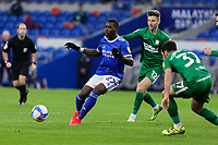 (L-R) Sheyi Ojo of Cardiff City, Paul Gallagher and Greg Cunningham in action during the Sky Bet Championship match between Cardiff City and Preston North End at the Cardiff City Stadium, Cardiff, Wales, UK. Saturday 20 February 2021