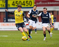 20th February 2021; Dens Park, Dundee, Scotland; Scottish Championship Football, Dundee FC versus Queen of the South; Calvin McGrory of Queen of the South and Jason Cummings of Dundee