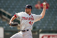 Memphis Redbirds pitcher Tyler Lyons (43) delivers a pitch to the plate during the first game of a Pacific Coast League doubleheader against the Round Rock Express on August 3, 2014 at the Dell Diamond in Round Rock, Texas. The Redbirds defeated the Express 4-0. (Andrew Woolley/Four Seam Images)