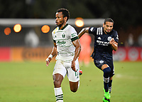 LAKE BUENA VISTA, FL - AUGUST 01: Jeremy Ebobisse #17 of the Portland Timbers runs after a ball during a game between Portland Timbers and New York City FC at ESPN Wide World of Sports on August 01, 2020 in Lake Buena Vista, Florida.