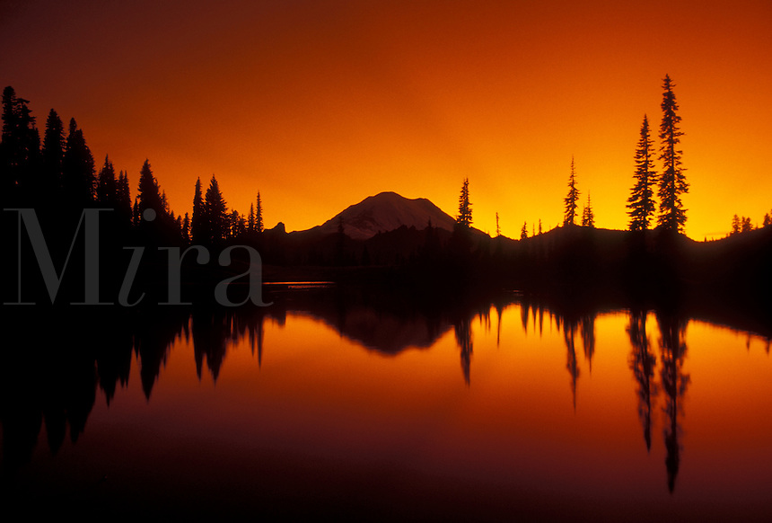 AJ3716, Mount Rainier, mirror, sunset, sunrise, Mt. Rainier National Park, Cascades, Cascade Range, Washington, Silhouette of Mt. Rainier at sunset reflecting in a mountain pond at Chinook Pass in the Cascade Mountain Range in Mount Rainier Nat'l Park in the state of Washington.