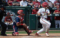 Arkansas first baseman Cullen Smith hits a solo home run Friday, June 4, 2021, during the fourth inning of the Razorbacks' 13-8 win over New Jersey Institute of Technology in the first game of the NCAA Fayetteville Regional at Baum-Walker Stadium in Fayetteville. Visit nwaonline.com/210605Daily/ for today's photo gallery.<br /> (NWA Democrat-Gazette/Andy Shupe)