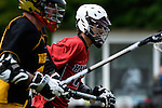 GER - Hannover, Germany, May 30: During the Men Lacrosse Playoffs 2015 match between HTHC Hamburg (black) and DHC Hannover (red) on May 30, 2015 at Deutscher Hockey-Club Hannover e.V. in Hannover, Germany. Final score 17:2. (Photo by Dirk Markgraf / www.265-images.com) *** Local caption *** Daniel Schmitz #22 of DHC Hannover