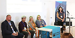 Eric Lapointe (Prolific 1), Rae Anne McLaughlin (TriTix & Kids in Seats), Sean Tecson (Roundabout Theatre Group), Bonnie Comley (BroadwayHD), Ann Lademann (Kids in Seats) and  Rae Anne McLaughlin (TriTix & Kids in Seats) during the 2019 TRITIX Forum at Arts West Building on September 19, 2019 in New York City.