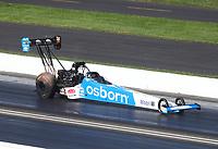 Jul 19, 2020; Clermont, Indiana, USA; NHRA top fuel driver Doug Kalitta during the Summernationals at Lucas Oil Raceway. Mandatory Credit: Mark J. Rebilas-USA TODAY Sports