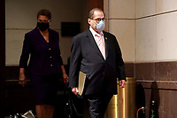 Rep. Karen Bass (D-Calif.) and House Judiciary Committee Chairman Jerrold Nadler (D-N.Y.) arrive for a House Judiciary Committee hearing to discuss police brutality and racial profiling on Wednesday, June 10, 2020.<br /> Credit: Greg Nash / Pool via CNP/AdMedia