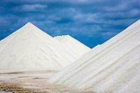 Mountains of salt at the salt flats of Pekelmeer, Bonaire Island, Caribbean., Netherland Antilles, Atlantic