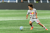 FOXBOROUGH, MA - AUGUST 29: Florian Valot #22 of New York Red Bulls controls the ball at midfield and restarts the attack during a game between New York Red Bulls and New England Revolution at Gillette Stadium on August 29, 2020 in Foxborough, Massachusetts.