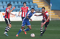 Dominic Samuel of Gillingham takes on the Exeter City defence during Gillingham vs Exeter City, Emirates FA Cup Football at the MEMS Priestfield Stadium on 28th November 2020