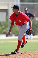 Boston Red Sox pitcher Noe Ramirez #52 during an Instructional League game against the Minnesota Twins at Red Sox Minor League Training Complex in Fort Myers, Florida;  October 3, 2011.  (Mike Janes/Four Seam Images)