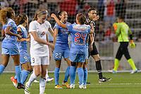 Chicago, IL - Wednesday Sept. 07, 2016: Christen Press celebrates scoring, Vanessa DiBernardo during a regular season National Women's Soccer League (NWSL) match between the Chicago Red Stars and FC Kansas City at Toyota Park.