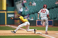 Missouri Tigers first baseman Brandt Belk (21) stretches for a throw as Peyton Graham (20) hustles down the line in game four of the 2020 Shriners Hospitals for Children College Classic at Minute Maid Park on February 29, 2020 in Houston, Texas. The Tigers defeated the Sooners 8-7. (Brian Westerholt/Four Seam Images)