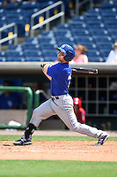 Dunedin Blue Jays outfielder Matt Newman (7) during a game against the Clearwater Threshers on April 6, 2014 at Bright House Field in Clearwater, Florida.  Dunedin defeated Clearwater 5-2.  (Mike Janes/Four Seam Images)