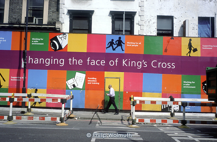 Kings Cross in Central London undergoes major redevelopment around the site of the new terminal for the Channel Tunnel Rail Link.