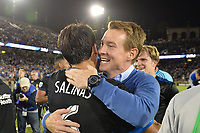 Stanford, CA - Saturday July 01, 2017: Shea Salinas, Chris Leitch during a Major League Soccer (MLS) match between the San Jose Earthquakes and the Los Angeles Galaxy at Stanford Stadium.