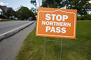 Stop Northern Pass sign along Route 117 in Sugar Hill, New Hampshire USA
