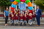 Teacher Fiona Hallissey and Principal John Burke with their Junior Infants on the first day of school in Fossa NS on Wednesday (names to follow)