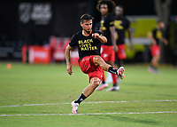 LAKE BUENA VISTA, FL - JULY 26: Pablo Piatti of Toronto FC watches his shot while warming up during a game between New York City FC and Toronto FC at ESPN Wide World of Sports on July 26, 2020 in Lake Buena Vista, Florida.