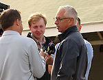 LOUISVILLE, KY - APRIL 27: Todd A. Pletcher, trainer of Kentucky Derby hopefuls Destin and Outwork, is interviewed outside his barn by reporters at Churchill Downs, Louisville, KY.(Photo by Mary M. Meek/Eclipse Sportswire/Getty Images)
