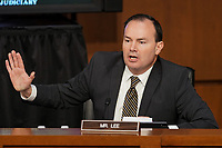 United States Senator Mike Lee (Republican of Utah) speaks during a Senate Judiciary Committee business meeting prior to the fourth day for the confirmation hearing of President Donald Trump's Supreme Court nominee Judge Amy Coney Barrett on Thursday, October 15, 2020.<br /> Credit: Greg Nash / Pool via CNP /MediaPunch