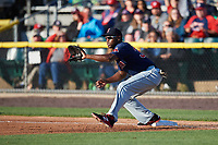 Salem Red Sox first baseman Josh Ockimey (30) stretches for a throw during the first game of a doubleheader against the Potomac Nationals on May 13, 2017 at G. Richard Pfitzner Stadium in Woodbridge, Virginia.  Potomac defeated Salem 6-0.  (Mike Janes/Four Seam Images)