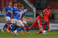 Teddy Jenkins of Leyton Orient is fouled during the EFL Trophy behind closed doors match between Leyton Orient and Brighton & Hove Albion Under 21s at the Matchroom Stadium, London, England played without supporters able to attend due to ongoing covid-19 government guidelines on 8 September 2020. Photo by Vince  Mignott.