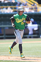 Aaron Payne #20 of the Oregon Ducks runs the bases during a game against the UCLA Bruins at Jackie Robinson Stadium on May 18, 2014 in Los Angeles, California. Oregon defeated UCLA, 5-4. (Larry Goren/Four Seam Images)