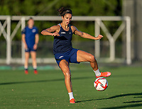 KASHIMA, JAPAN - AUGUST 4: Carli Lloyd #10 of the USWNT takes a shot during a training session at the practice field on August 4, 2021 in Kashima, Japan.