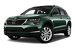Stock pictures of low aggressive front three quarter view of a 2018 Skoda Karoq Style 5 Door SUV