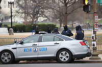 WASHINGTON, D.C. - JANUARY 8:   State Police squad car parked to prevent any further disturbances after a mob of Donald Trump supporters rushed the US Capitol 2 days prior. Washington, D.C. on January 8, 2021. <br /> CAP/MPI34<br /> ©MPI34/Capital Pictures