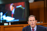 United States Senator Richard Blumenthal (Democrat of Connecticut), speaks as the Senate Judiciary Committee hears from legal experts on the final day of the confirmation hearing for Supreme Court nominee Amy Coney Barrett, on Capitol Hill in Washington, Thursday, Oct. 15, 2020.<br /> Credit: Susan Walsh / Pool via CNP /MediaPunch
