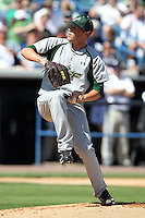 USF Bulls pitcher Matt Reed #21 delivers a pitch during a scrimmage against the New York Yankees at Steinbrenner Field on March 2, 2012 in Tampa, Florida.  New York defeated South Florida 11-0.  (Mike Janes/Four Seam Images)