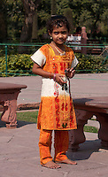 Agra, India.  Indian Girl from Maharashtra State Visiting the Taj Mahal.