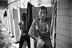 Snowdown Colliery, Snowdown Kent. 1976  Miners take a shower. 1970s Britain.