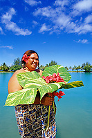 tahitian lady and flower, Papeete, Tahiti Nui, French Polynesia, South Pacific Ocean