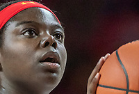 COLLEGE PARK, MD - FEBRUARY 9: Ashley Owusu #15 of Maryland at the free throw line during a game between Rutgers and Maryland at Xfinity Center on February 9, 2020 in College Park, Maryland.