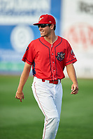 Williamsport Crosscutters designated hitter Adam Haseley (37) warms up before a game against the Mahoning Valley Scrappers on July 8, 2017 at BB&T Ballpark at Historic Bowman Field in Williamsport, Pennsylvania.  Williamsport defeated Mahoning Valley 6-1.  (Mike Janes/Four Seam Images)