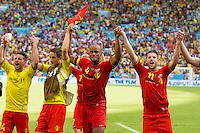 Vincent Kompany of Belgium celebrate towards fans after the match