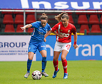 Genk's Silke Sneyers (2) and Standard's Davinia Vanmechelen (25) battle for the ball during a female soccer game between Standard Femina de Liege and KRC Genk Ladies  on the third matchday of the 2020 - 2021 season of Belgian Womens Super League , Saturday 3 rd of October 2020  in Liege , Belgium . PHOTO SPORTPIX.BE   SPP   SEVIL OKTEM