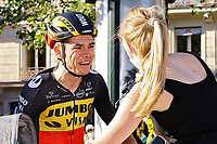 18th July 2021; Paris, France;  VAN AERT Wout (BEL) of JUMBO-VISMA with girlfriend after victory during stage 21 of the 108th edition of the 2021 Tour de France cycling race, the stage of 108,4 kms between Chatou and finish at the Champs Elysees in Paris.