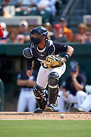 Detroit Tigers catcher Austin Green (71) checks the runner after blocking a pitch during an exhibition game against the Florida Southern Moccasins on February 29, 2016 at Joker Marchant Stadium in Lakeland, Florida.  Detroit defeated Florida Southern 7-2.  (Mike Janes/Four Seam Images)