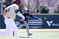 ELON, NC - MARCH 1: Cameron Edmonson #28 of Indiana State University tosses the ball to first base for an out during a game between Indiana State and Elon at Walter C. Latham Park on March 1, 2020 in Elon, North Carolina.